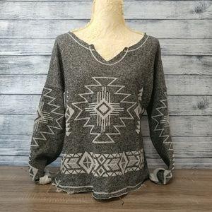 Gray/white aztec boho long sleeve light sweater